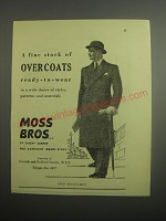 1948 Moss Bros Overcoats Ad - A fine stock of overcoats ready-to-wear