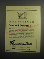 1948 Aquascutum Suits and Overcoats Ad - Made to measure