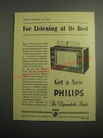 1948 Philips Radio Ad - For listening at its best