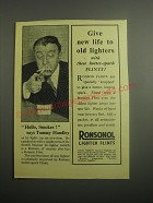 1948 Ronson Ronsonol Lighter Flints Ad - Hullo, Smokes! Says Tommy Handley