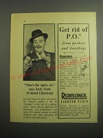 1948 Ronson Ronsonol Lighter Fluid Ad - That's the spirit, sir, says Jack Train