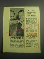 1948 Ronson Lighters Ad - We mustn't let Costa see this, say Murdoch and Horne