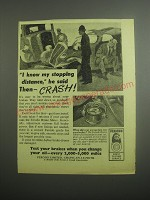 1948 Ferodo Brake Meter Ad - I know my stopping distance, he said then - crash