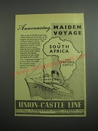 1948 Union-Castle Line Cruises Ad - Announcing maiden voyage to South Africa