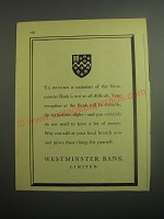 1948 Westminster Bank Limited Ad - To become a customer of the Westminster Bank