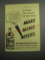 1948 Myers Rum Ad - To warm the cockles of the heart make Mine Myers