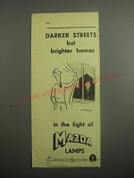 1948 Mazda Lamps Ad - Darker streets but brighter homes