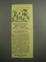 1948 Brand's Essence Ad - Speed recovery by quickening the patient's metabolism