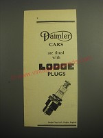 1948 Lodge Plugs Ad - Daimler cars are fitted with Lodge plugs