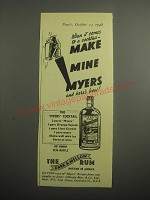 1948 Myers's Rum Ad - When it comes to a cocktail make mine myers