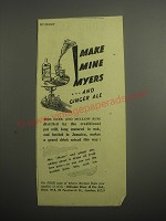 1948 Myers's Rum Ad - Make mine Myers and Ginger Ale