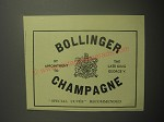 1948 Bollinger champagne Ad - by appointment to the late King George V