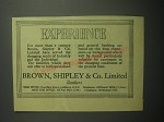 1948 Brown, Shipley & Co Bank Ad - Experience