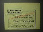 1948 Lamport & Holt line Ad - To south America