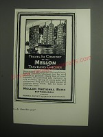 1937 Mellon National Bank Ad - Travel in comfort with Mellon travelers cheques