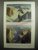 1937 Illustrations by Eugene Kingman Ad - The Yosemite glaciers