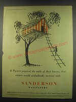 1949 Sanderson Wallpaper Ad - If pigmies papered the walls of their houses