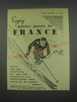 1949 French National Tourist Office Ad - Enjoy winter sports in France