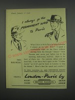 1949 British Railways Ad - Go the permanent way to Paris