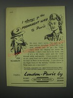 1949 British Railways Ad - permanent way to Paris