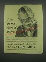 1949 Salvation Army Ad - I see my full share of misery