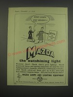 1949 BTH Mazda Lamps and Lighting Equipment Ad