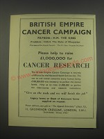 1949 British Empire Cancer Campaign Ad - Please help to raise £1,000,000