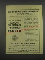 1949 British Empire Cancer Campaign Ad - Please help us to raise £1,000,000