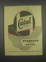 1949 Castrol Motor Oil Ad - Standard recommend Castrol