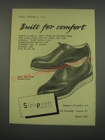 1949 Simpson Shoes Ad - Built for comfort