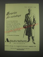 1949 Aquascutum Top Coat Ad - Surprise for raindrops