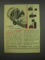 1949 Coventry Climax Fork Trucks Ad - It lifts almost anything