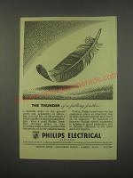 1949 Philips Electrical Ad - The thunder of a falling feather