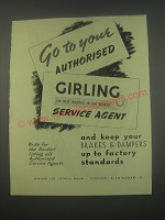 1949 Girling Brakes Ad - Go to your authorised Girling Service Agent