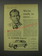 1949 Standard Vanguard Car Ad - We're ready to serve