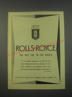 1949 Rolls-Royce Cars Ad - Rolls-Royce The best car in the world