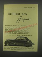 1949 Jaguar Mark V car Ad - Brilliant new Jaguar