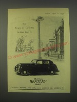 1949 Bentley Mark VI Car Ad - For Town or Country the silent sports car