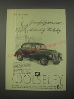 1949 Wolseley Cars Ad - Gracefully modern - distinctly Wolseley