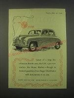 1949 Singer S.M. 1500 Car Ad - Latest of a long line