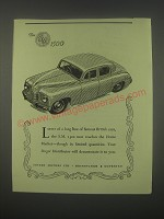 1949 Singer S.M. 1500 Car Ad - Latest of a long line of famous British Cars
