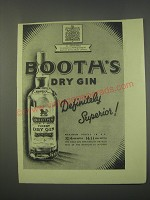 1949 Booth's Dry Gin Ad - Definitely superior