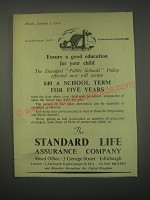 1949 Standard Life Assurance Ad - Ensure a good education for your child