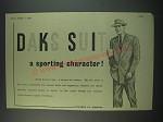 1949 Simpson DAKS Suit Ad - a sporting character