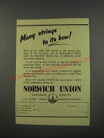 1949 Norwich Union Insurance Ad - Many strings to its bow