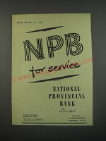 1949 National Provincial Bank Ad - NPB for service