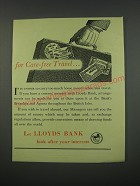 1949 Lloyds Bank Ad - For care-free travel