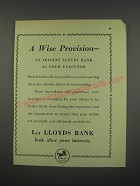1949 Lloyds Bank Ad - A wise provision