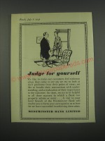 1949 Westminster Bank Limited Ad - Judge for yourself