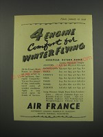 1949 Air France Ad - 4 Engine comfort for winter flying